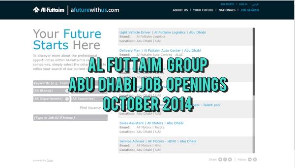 Al-Futtaim Abu Dhabi Career Opportunities October 2014