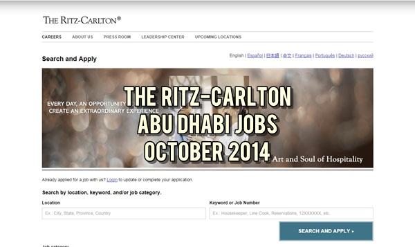 The Ritz-Carlton Abu Dhabi Career Opportunities October 2014