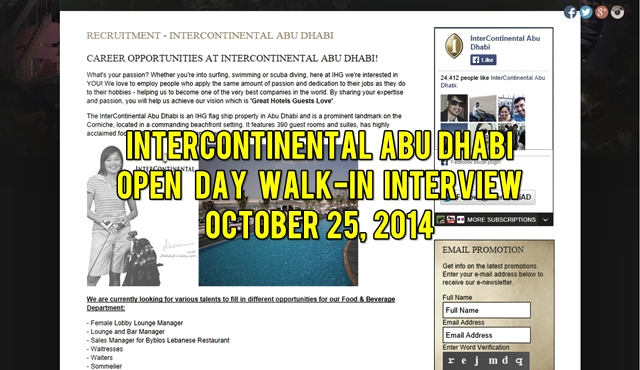 InterContinental Abu Dhabi Walk-in Interview 25 OCT 2014