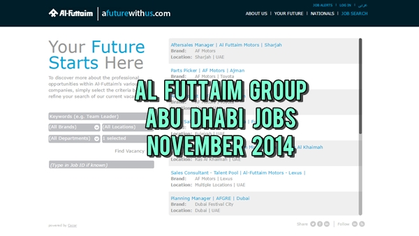 Al-Futtaim Abu Dhabi Job Openings November 2014