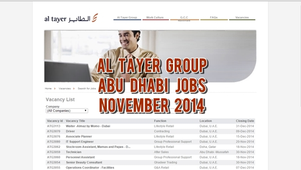 Al Tayer Abu Dhabi Job Openings November 2014