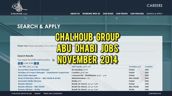 Chalhoub Group Abu Dhabi Job Vacancies November 2014