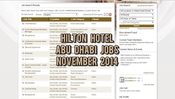 Hilton Abu Dhabi Job Opportunities November 2014