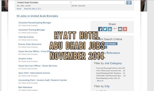 Hyatt Abu Dhabi Job Vacancies November 2014