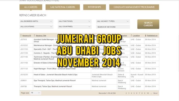 Jumeirah Abu Dhabi Job Openings November 2014