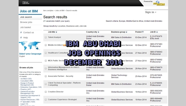 IBM Abu Dhabi Job Openings December 2014