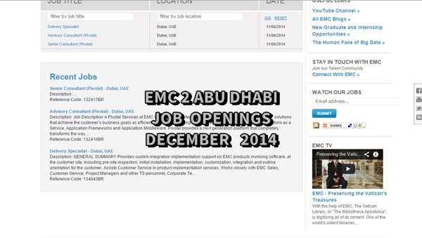EMC Abu Dhabi Job Openings December 2014