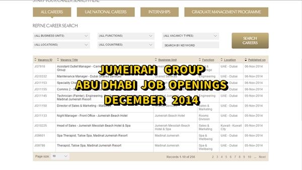 Jumeirah Abu Dhabi Job Openings December 2014