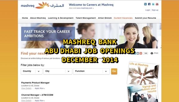 Mashreq Abu Dhabi Job Openings December 2014