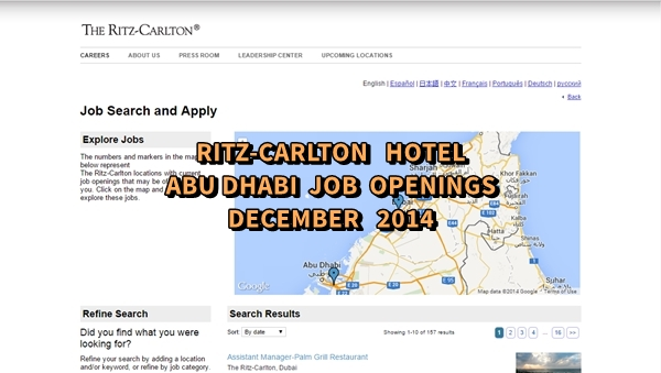 Ritz-Carlton Hotel Abu Dhabi Job Openings December 2014