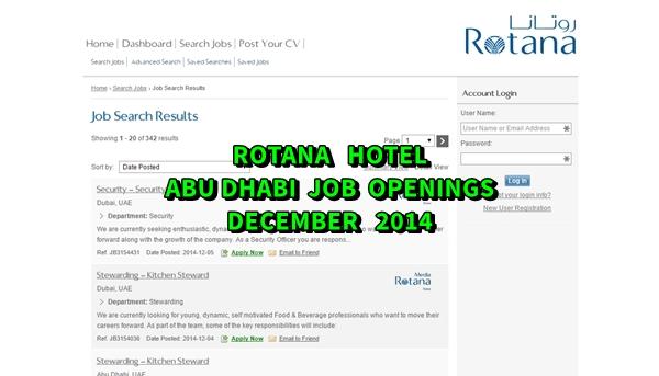 Rotana Hotels and Resorts Abu Dhabi Job Openings December 2014