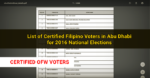 List of Registered Filipino Voters in Abu Dhabi for 2016 National Elections