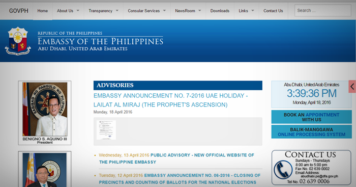 phil embassy abu dhabi website