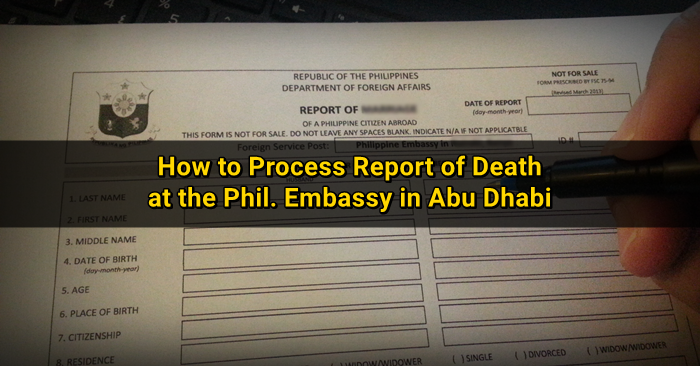 report of death certificate abu dhabi
