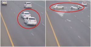 Abu Dhabi Police Shares Horrific Crash - Two Cars Spin Out of Control
