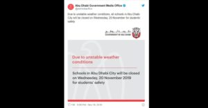 abu dhabi announces schools closed weather